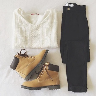 sweater white timberland jeans