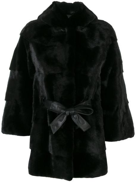 Cara Mila coat fur women leather black