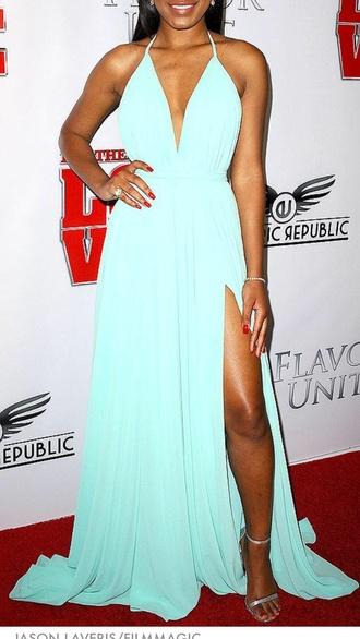 dress leg cut out deep v neck dress pastel blue dress