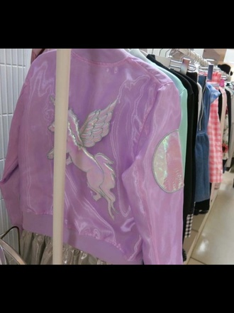 jacket bomber jacket lolita girly holographic unicorn kawaii fairy kei japan japanese fashion pastel pink