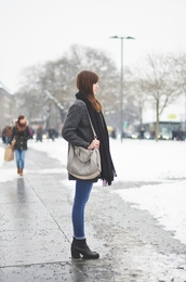 vogue haus,blogger,jeans,grey coat,purse