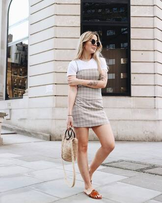 shoes slide shoes basket bag dress checkered mini dress white shirt bag sunglasses