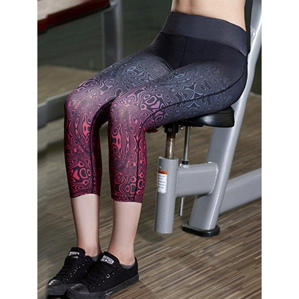 0b437d4b0389e Active Elastic Waist Ombre Skinny Capri Yoga Pants For Women