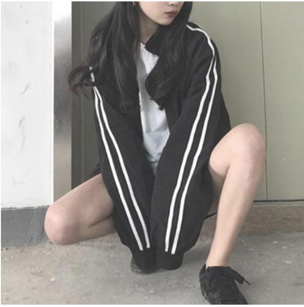 jacket windbreaker tumblr black zip zip up jacket stripes white