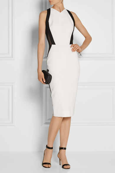 Victoria Beckham | Two-tone silk and wool-blend cady dress | NET-A-PORTER.COM
