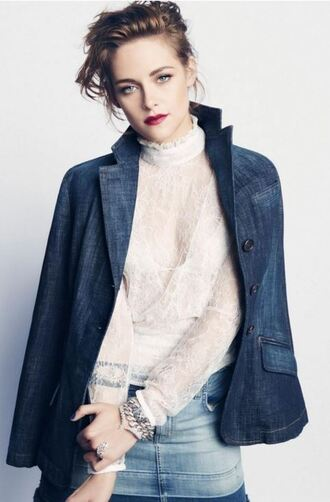 kristen stewart editorial denim jacket lace blouse white lace denim skirt