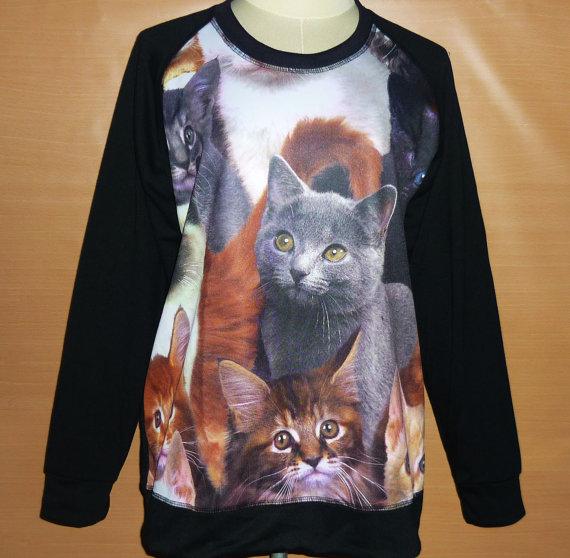 Shirt cat sweater screen printed t shirt winter fashion women clothing jumper sweatshirt crew neck sweatshirt m l