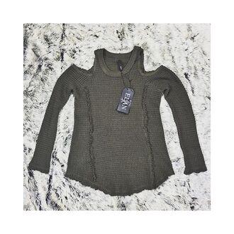 sweater peekaboo sweater peek-a-boo shoulders peek-a-boo shoulder sweater olive sweater soft sweater cut-out sweater cut-out shoulder cut-out shoulder sweater free vibrationz long sleeved shirt long sleeved cut out sweater elan