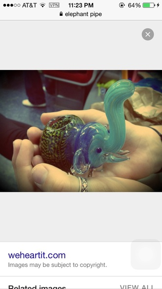 home accessory pipe glass pipe elephant elephant print blue green nature weed glass blown
