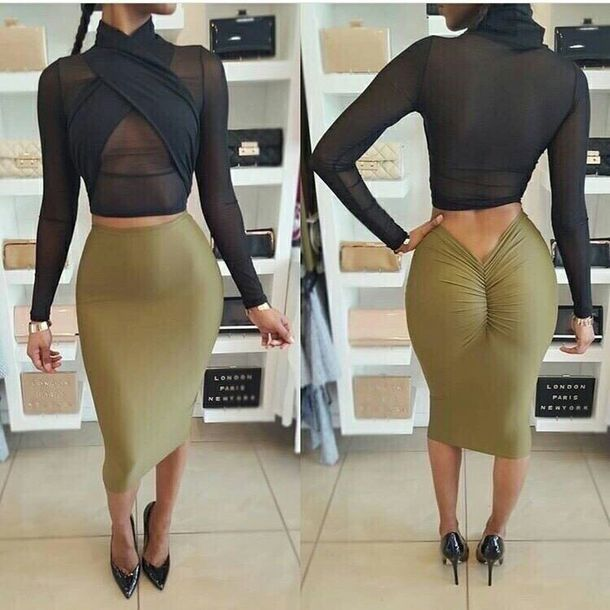 Skirt: pencil skirt, bodycon skirt, green, shirt, long sleeve crop ...