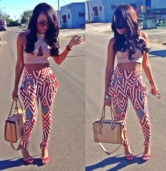 pants summer outfits crop tops bag high heels abstract