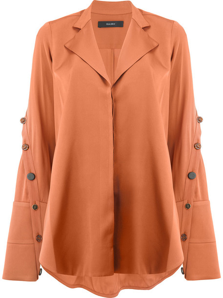 ellery shirt women slit spandex silk brown top