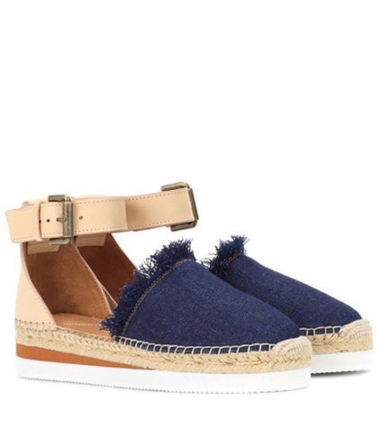 denim espadrilles leather blue shoes