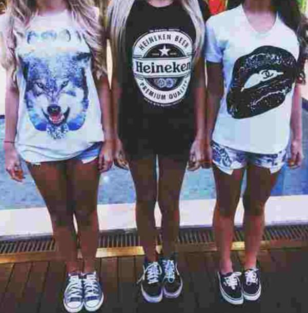 converse vs vans. shirt shorts black white wolf lips shoes vans converse vs