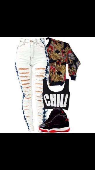 jeans bleached high waisted jeans torn jeans jacket tank top shorts shoes sweater