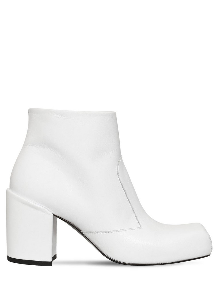AALTO 70mm Leather Ankle Boots in white