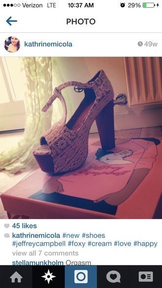shoes jeffrey campbell lace wooden platforms