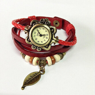 jewels charm bracelet leather watch watch vintage fashion accessories red wrap watch leaf charm