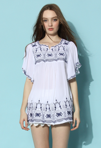 top chicwish chicwish.com ruffle dress ruffle sleeved dress flower embroidered tunic dress embroidered dress