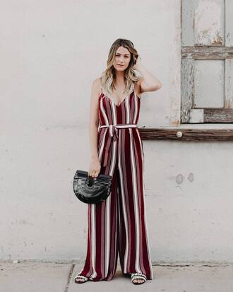 jumpsuit tumblr stripes striped jumpsuit wide-leg pants summer outfits bag black bag shoes