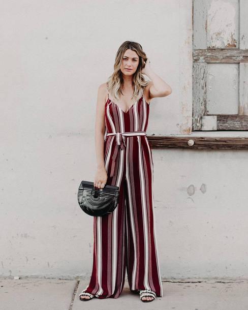 125942595d jumpsuit tumblr stripes striped jumpsuit wide-leg pants summer outfits bag  black bag shoes