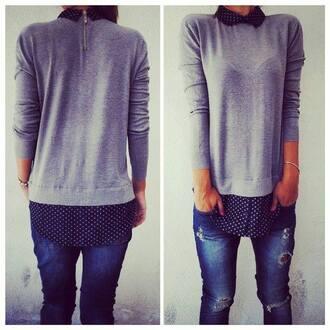 blouse blue jeans shirt jeans grey blue chic stylish style bracelets polka dots polka dot shirt