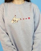 sweater,grey,grey sweater,heart