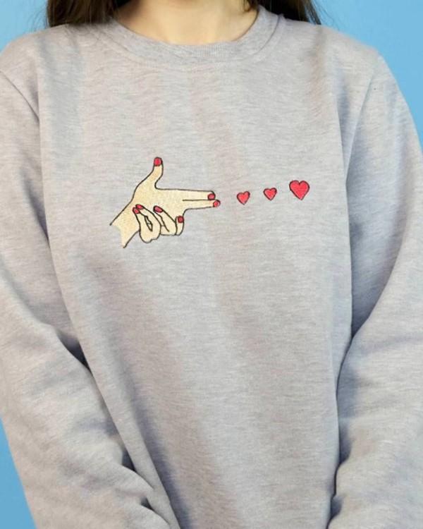 sweater grey grey sweater heart