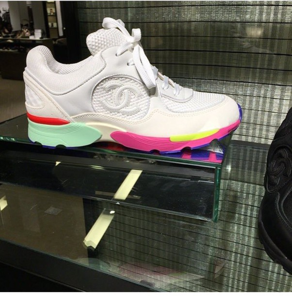 shoes, chanel, rainbow, white, leather