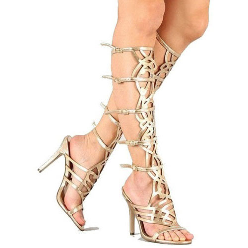 aee3e5b7717 Diva-36 Gold Strappy Knee-High Stiletto Gladiator Heels - Cutesy ...