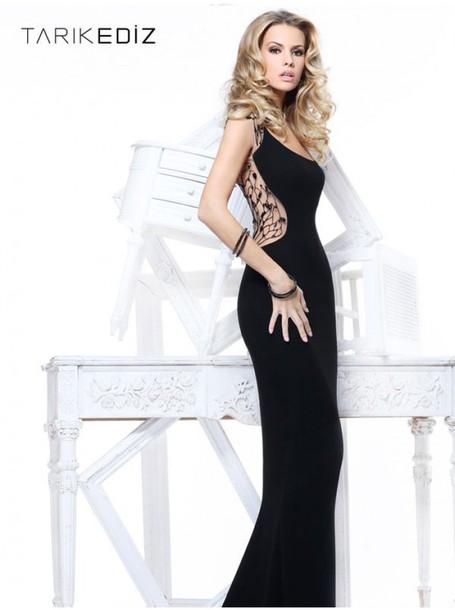 Dress Black Dress Fashion Tarik Ediz Dress Black Evening Dress