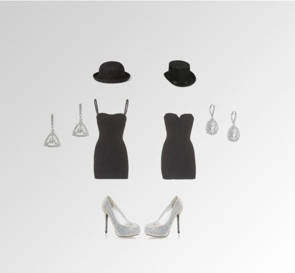 black hat dress high heels rhinestone earrings little black dress