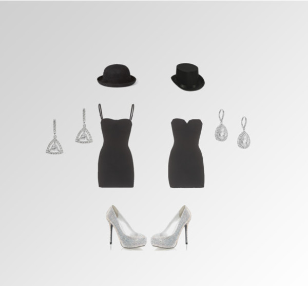 dress black hat heels rhinestones earrings little black dress
