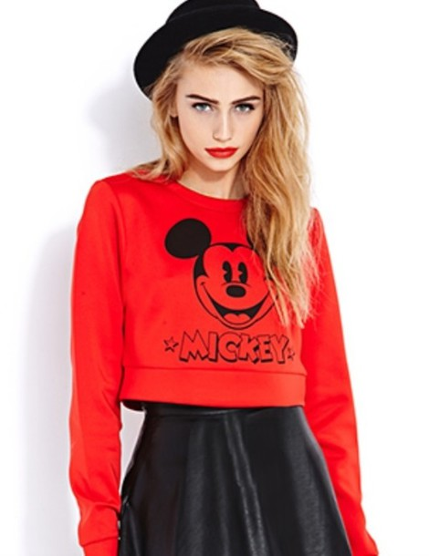 sweater cropped sweater mickey mouse red cute