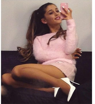 shoes ariana grande white blouse white court heels sweater