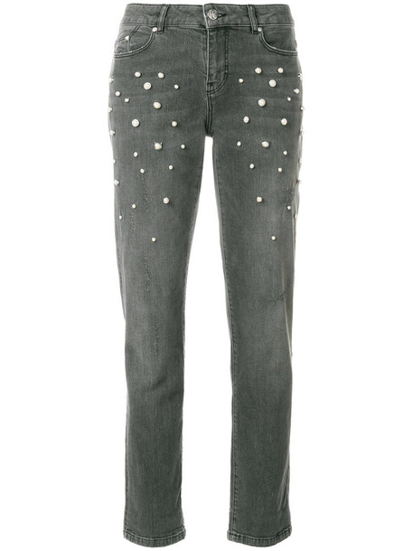 jeans women spandex pearl cotton grey