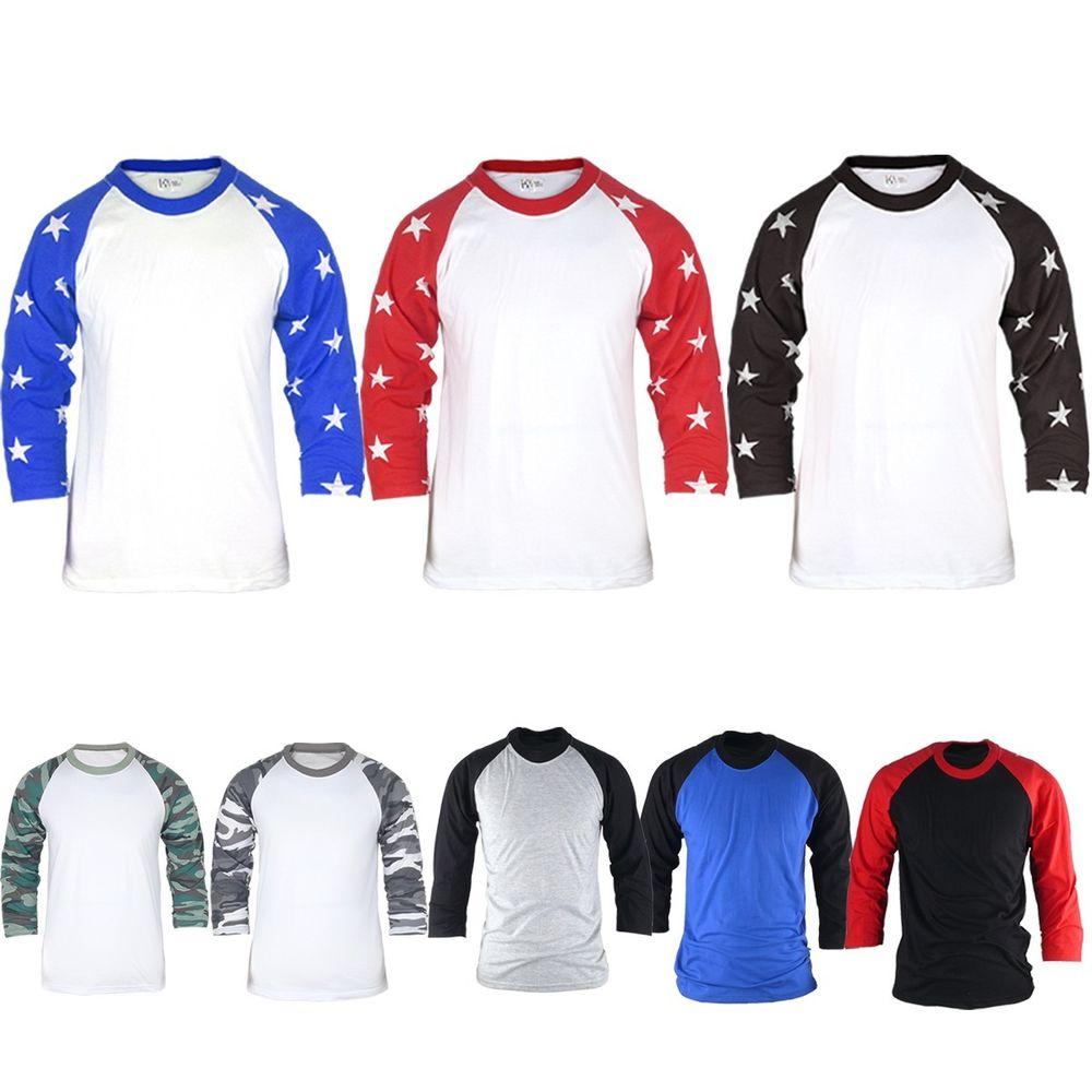 Mens Womens Military Star pattern 3/4 Sleeve Raglan Baseball Jersey TShirts Top
