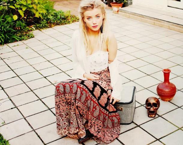 top boho boho chic hippie nanda schwarz skirt
