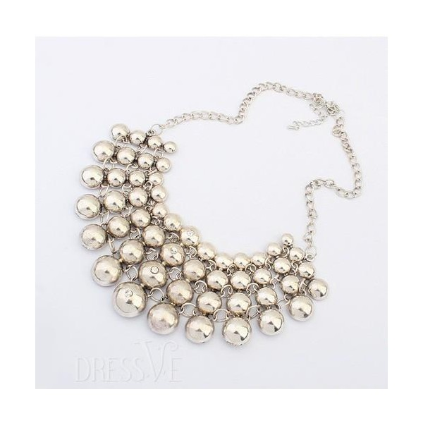 Chic Multiayer Round Shape Alloy Necklace Silver