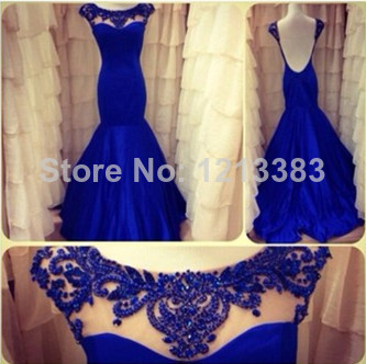 Aliexpress.com : Buy Custom Scoop Neckline Beaded Open Back Evening Dresses Cap Sleeve Formal Dress Royal Blue Mermaid Prom Dresses 2014 from Reliable dress legs suppliers on Clover Dresses