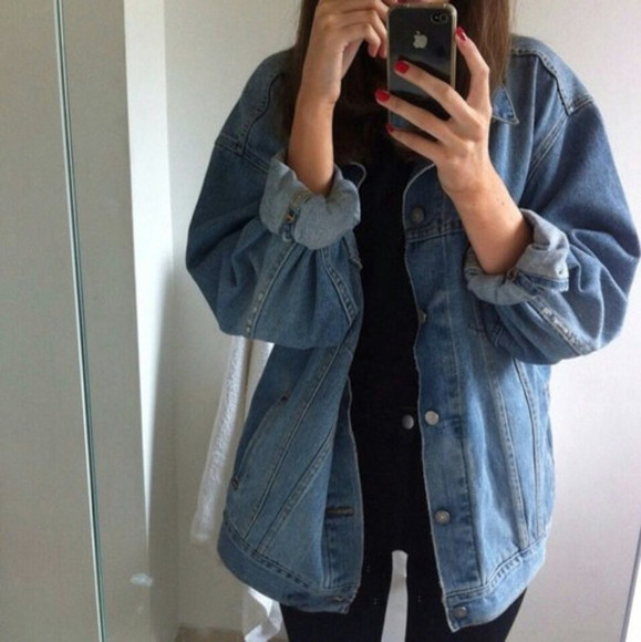 rock grunge large jacket large jacket denim demin jacket