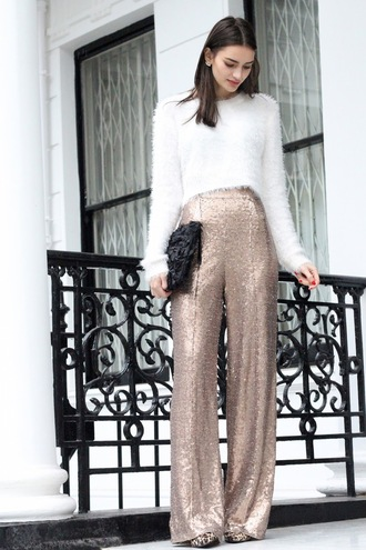 peexo blogger new year's eve white jumper fuzzy sweater sequins wide-leg pants sequin pants