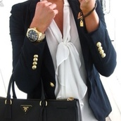 jacket,blazer,button,cuff,blouse,tie in front,jewels,bag,sailor style,blue jacket,studs,white blouse,white,watch,gold,jacket navy blue