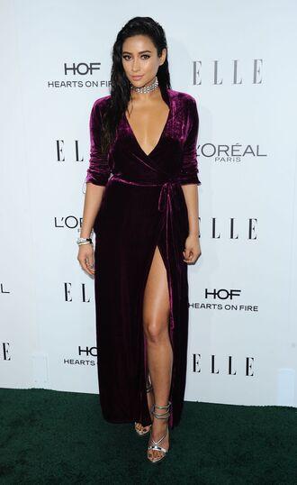 dress wrap dress velvet velvet dress shay mitchell sandals plunge dress gown