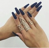 jewels,gold,jewelry,ring,style,nail polish,swag,trendy,knuckle ring,rings and tings,gold ring,ring stack,dimonds,silver,black,colorful,balerina nails,royal blue,nails,matte,acrylic nails,long nails,bling