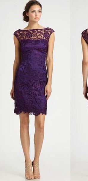 dress purple dress bridesmaid lace dress