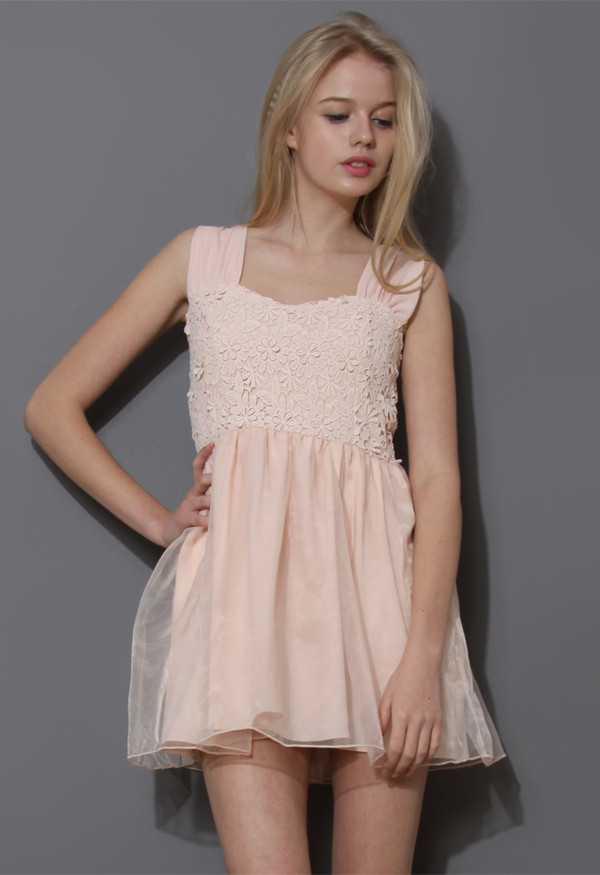 dress floral crochet organza mini pink