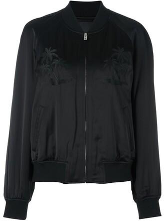 jacket bomber jacket embroidered women spandex black wool