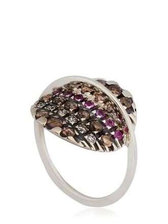 midi ring gold white jewels