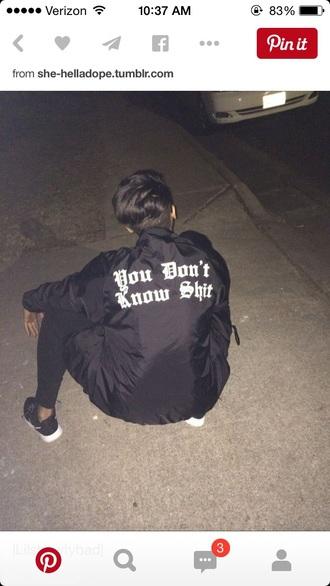 jacket black jacket baddies quote on it bomber jacket
